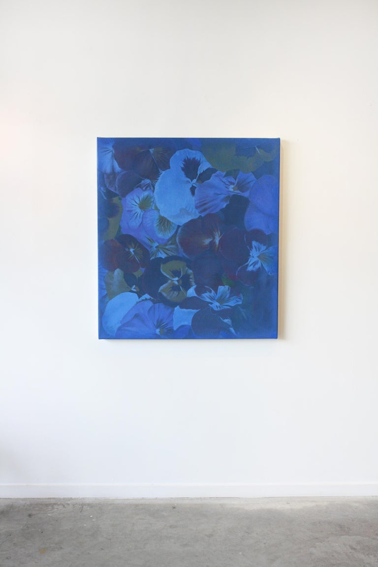 Blue Flowers  - Photorealist Painting by Julian Rogers