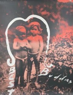 "JULIAN SCHNABEL Best Buddies SIGNED 58"" x 44"" Serigraph 1992 Gray, White, Red"