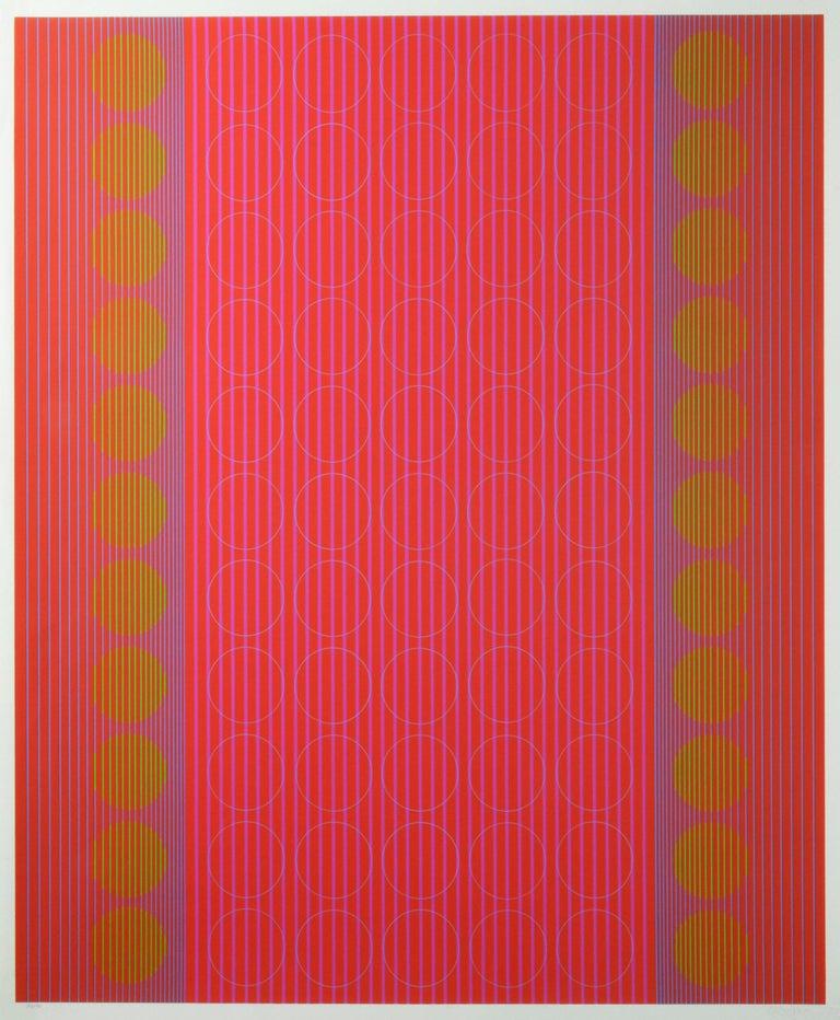Julian Stanczak Abstract Print - Centered Rings