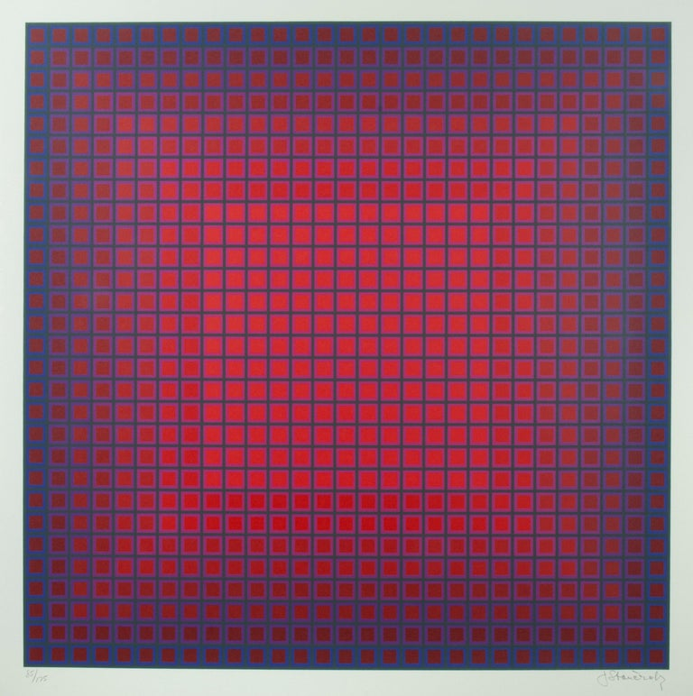 Julian Stanczak Abstract Print - Compounded Red
