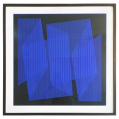 Julian Stanczak Blue and Black Print