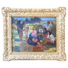 """""""Julian the Hospitaller,"""" Impressionist Scene W/ Saint and Laborers in the Field"""