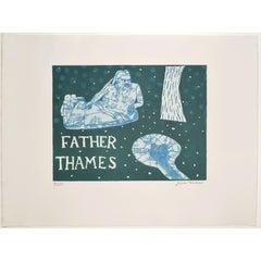 Julian Trevelyan Father Thames Etching Modern British Art London Print UK