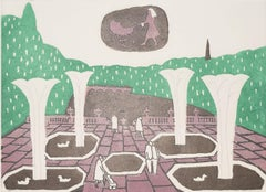 Julian Trevelyan Kensington Gardens Etching Modern British Art London Print UK