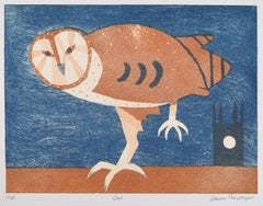 Julian Trevelyan OWL Print Etching & Aquatint - Modern British Art Mid Century
