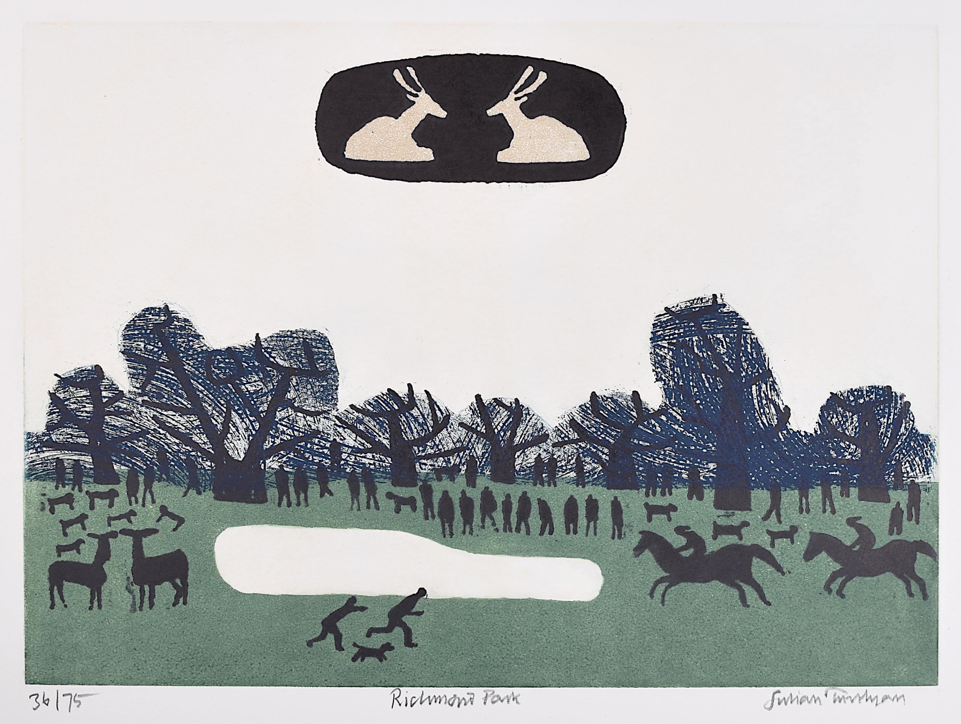 Julian Trevelyan Richmond Park Etching Modern British Art London Print UK Thames
