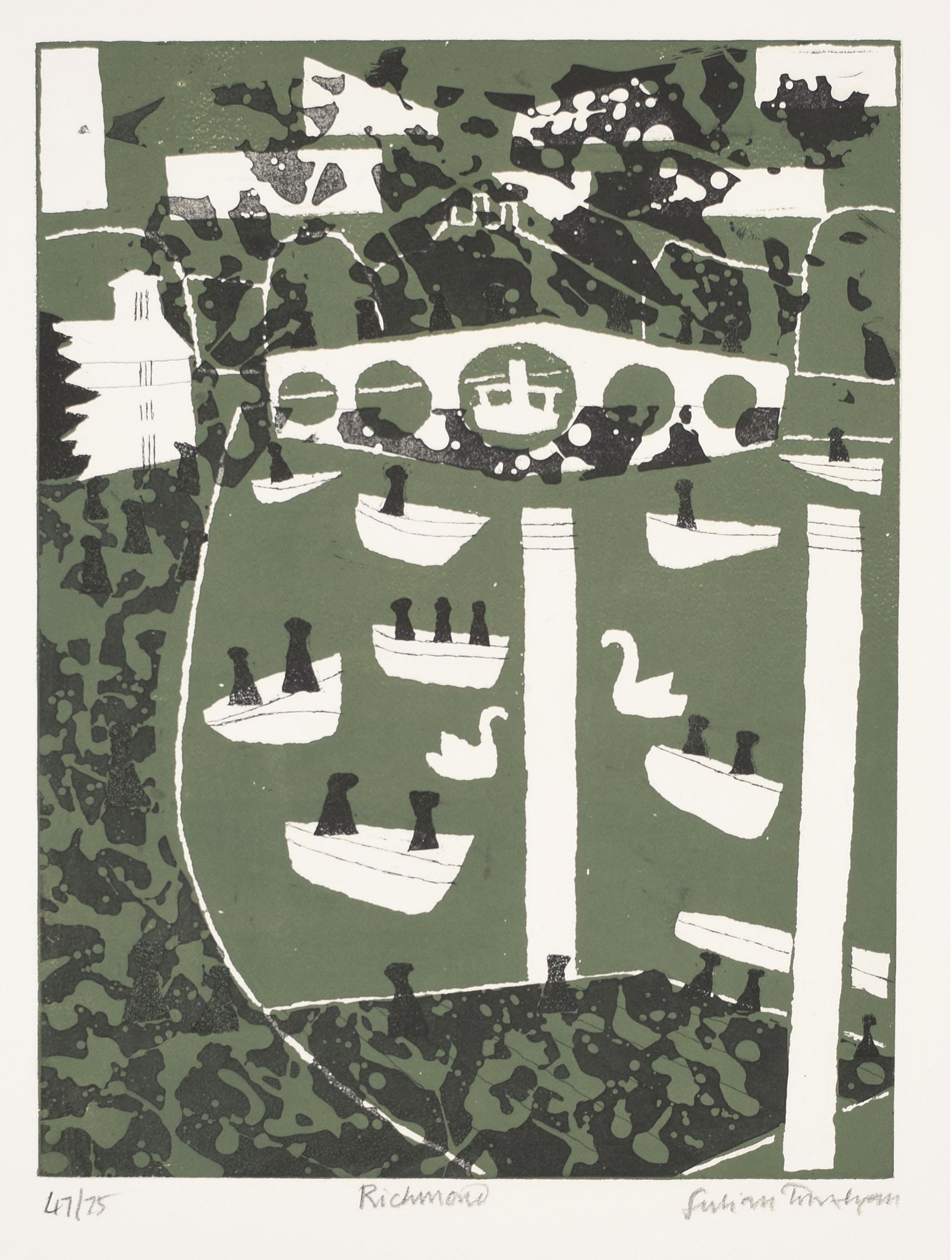 Julian Trevelyan Richmond Thames Series London Etching Modern British Art Print