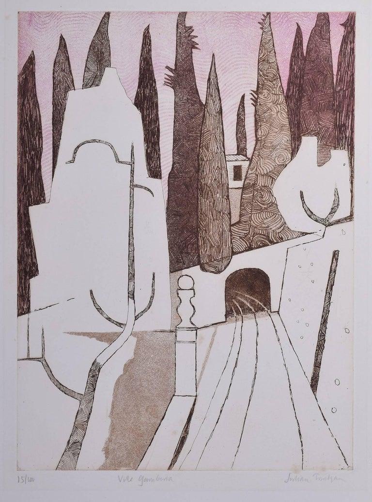 Julian Trevelyan Villa Gamberaia - Print by Julian Trevelyan