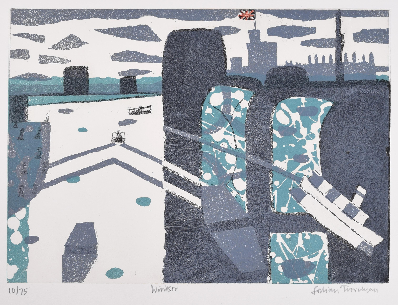 Julian Trevelyan Windsor Etching Modern British Art London Print UK Thames