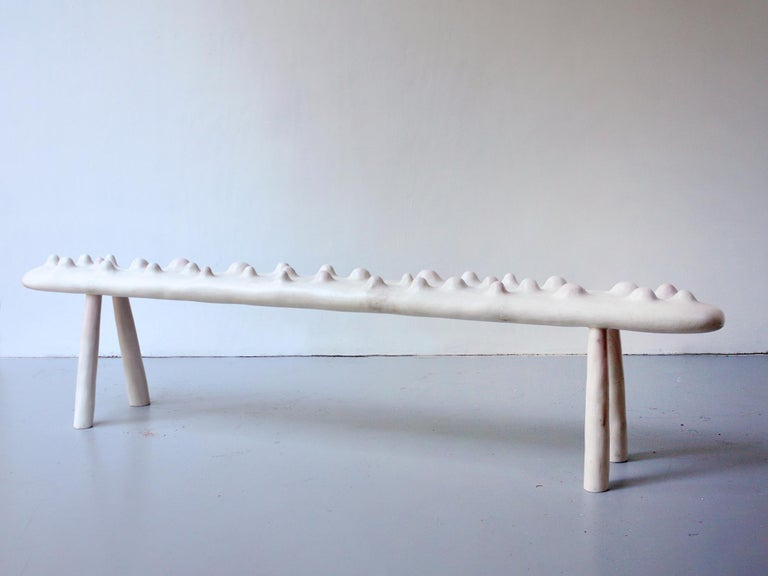 Stunning hand carved sculptural bench by Oregon-based artist Julian Watts made of bleached maple with a pink stain. Currently on view at Patrick Parrish Gallery in Julian Watt's second solo exhibition with the gallery,