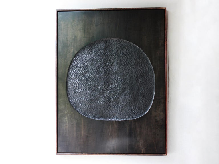 Hand carved painting by Oregon based artist Julian Watts made of maple stained with black India ink and framed in maple wood. Currently on view at Patrick Parrish Gallery in Julian Watt's second solo exhibition with the gallery,