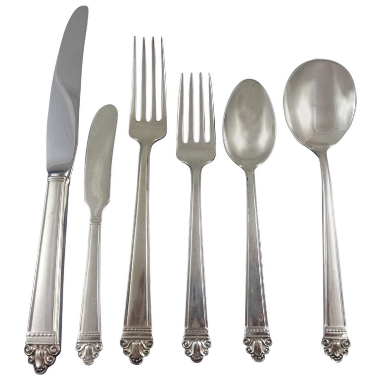 Watson Juliana sterling-silver 57-piece flatware set, 1930–39, offered by Antique Cupboard