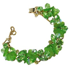 Juliana DeLizza & Elster Bracelet Peridot Green Vintage Book Piece