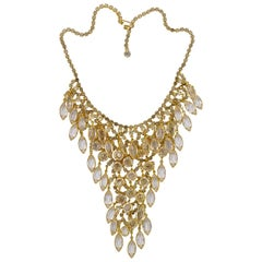 Juliana DeLizza & Elster Gold Plated and Clear Rhinestones Bib Necklace