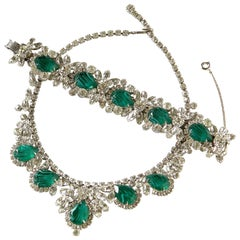Juliana DeLizza & Elster Necklace and Bracelet with Faux Diamonds and Emeralds