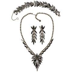 Juliana DeLizza & Elster Silver Tone Black Diamond Necklace Bracelet Earrings