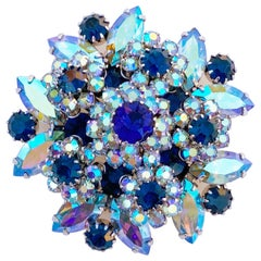 Juliana-Style Blue AB Crystal Cluster Layered Cocktail Brooch By Vendome, 1960s