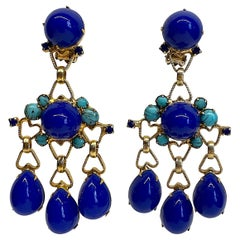 Julianna 1960s Pendant Earrings with Blue & turquoise Cabochons