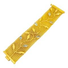 Julie Baker 18 Karat Yellow Gold Bracelet with 7.00 Carat Marquis Cut Blue Topaz