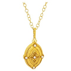 Julie Baker 18 Karat Yellow Gold Locket with Pearls with Open Link Chain