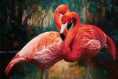 Julie Bell, Flamingos, oil on canvas