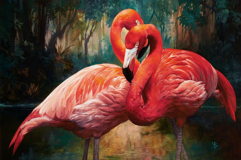 Julie Bell, Flamingos, oil on canvas - Painting by Julie Bell