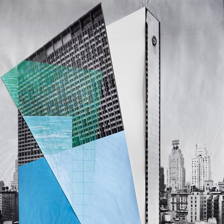 Color Pencil and Collage on Digital Print. Source Image: 53rd Street and 6th Avenue. New York Hilton Hotel, general view from S.W. Date: 7/29/1963, from the Wurts Bros. Collection at the Museum of the City of New York