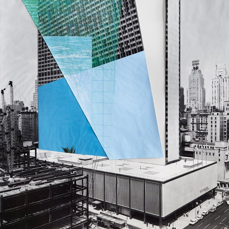 Facade 2, Architecture, New York, Color pencil and collage on digital print For Sale 1