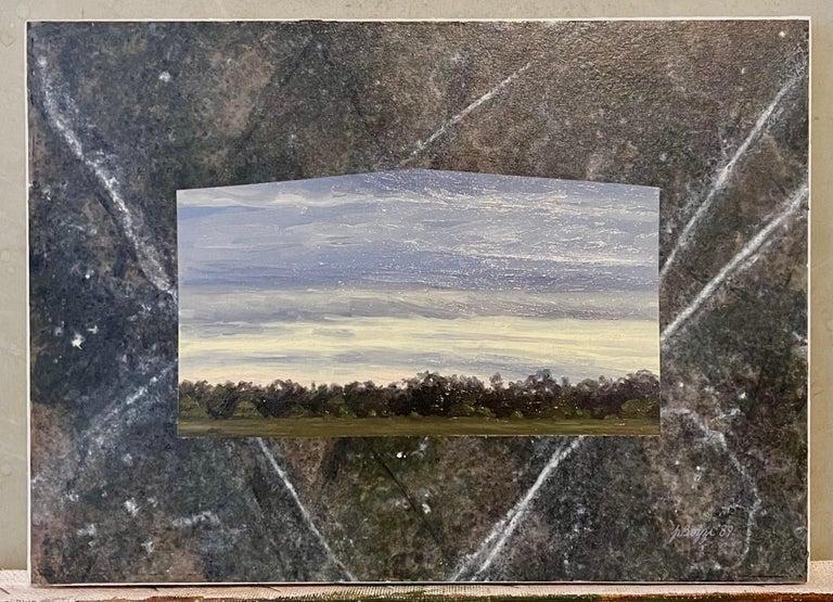 Julie Bozzi Americana Landscape Oil Painting Trompe L'oeil Frame Woman Artist For Sale 3