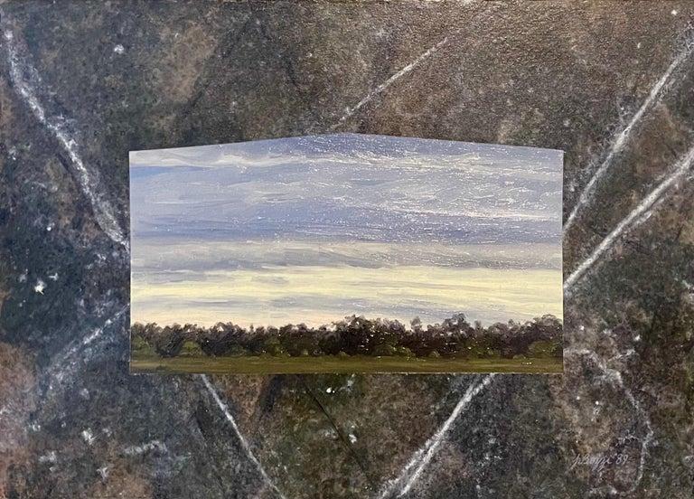 Julie Bozzi Americana Landscape Oil Painting Trompe L'oeil Frame Woman Artist - Gray Figurative Painting by Julie Bozzi