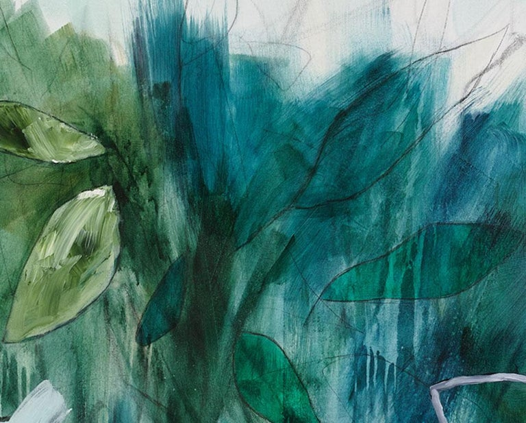 Sub-tropical (Abstract painting) - Gray Abstract Painting by Julie Breton