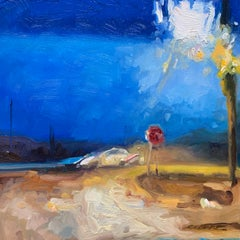 """""""Driving at Night #3"""" oil on wood panel painting, landscape, miniature"""