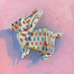 """Origami Rabbit"" oil on wood panel painting, miniature, polka dot bunny, origami"