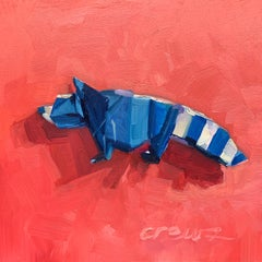 """Origami Raccoon"" oil on wood panel painting, miniature, blue raccoon, origami"
