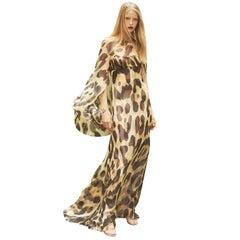 Julie de Libran Silk Cape Sleeve Leopard Print Silk Gown - Size US 4