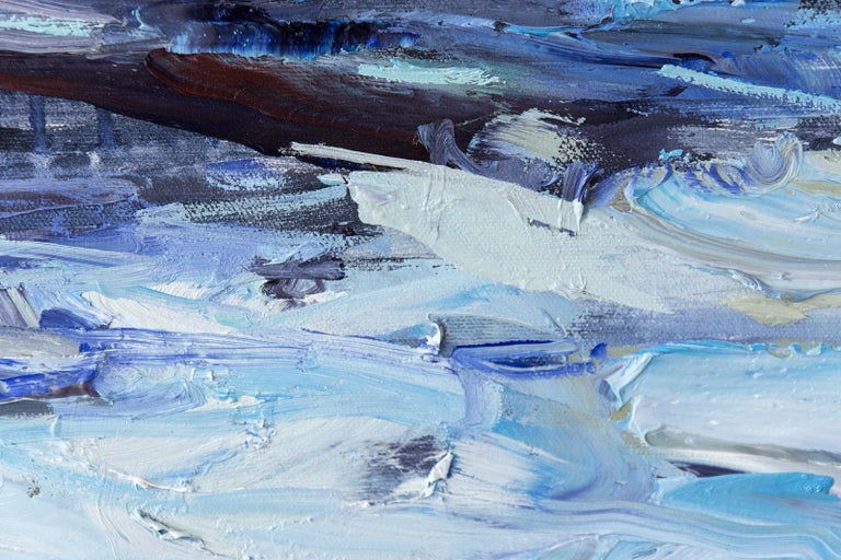 Forever Place II - landscape with indigo, deep phthalo, and warm cobalt blues - Contemporary Painting by Julie Himel