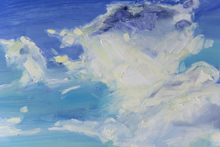 Forever Place II - landscape with indigo, deep phthalo, and warm cobalt blues - Blue Landscape Painting by Julie Himel