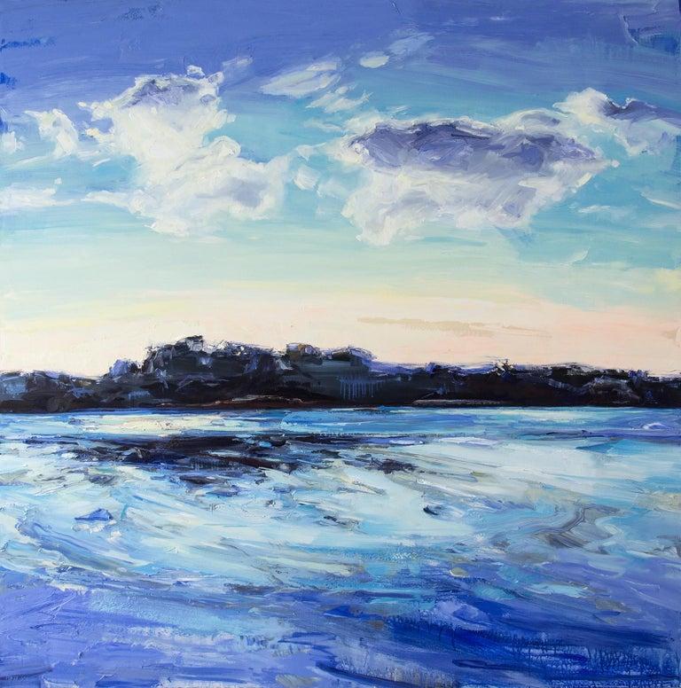 Julie Himel Landscape Painting - Forever Place II - landscape with indigo, deep phthalo, and warm cobalt blues
