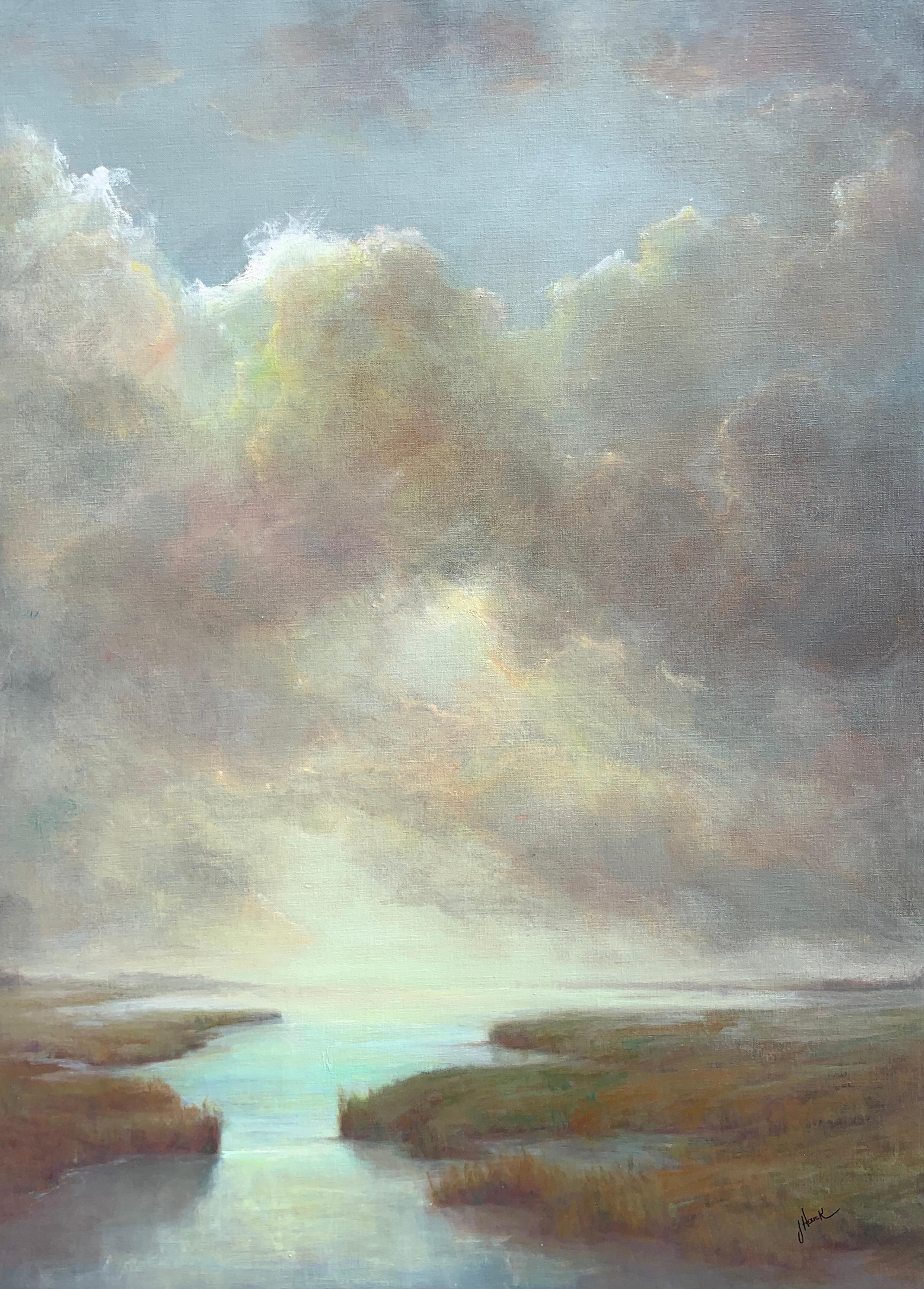 Ascension #2 by Julie Houck, Oil on Linen Post-Impressionist Painting with Blue