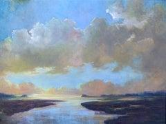 Eventide by Julie Houck, Horizontal Framed Post-Impressionist Landscape Painting
