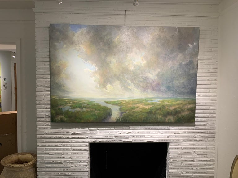 Follow Me by Julie Houck, Oil on Linen Post-Impressionist Painting with Green For Sale 2