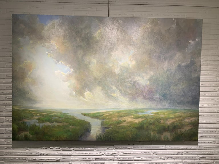 Follow Me by Julie Houck, Oil on Linen Post-Impressionist Painting with Green For Sale 3