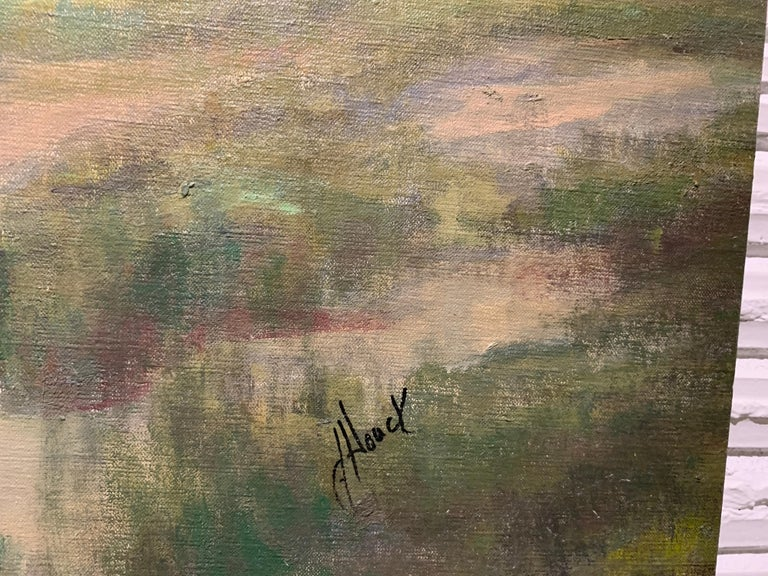 Follow Me by Julie Houck, Oil on Linen Post-Impressionist Painting with Green For Sale 4
