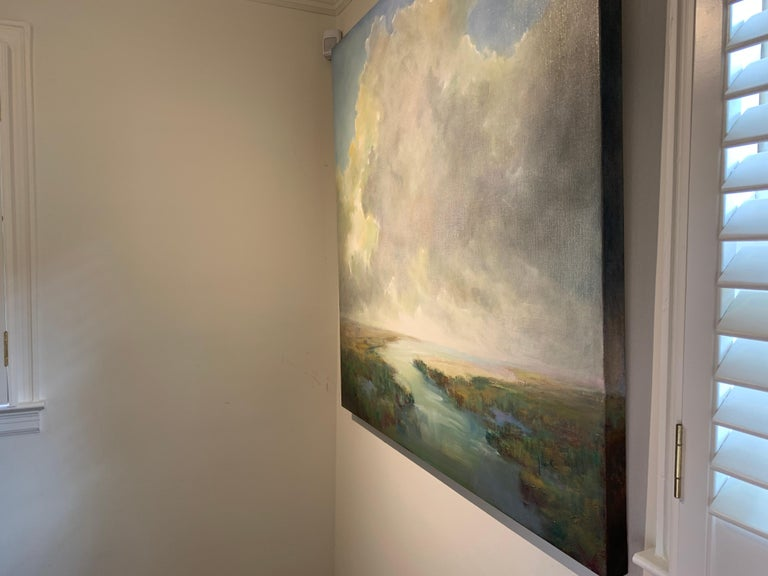 The Clearing Clouds by Julie Houck, Oil on Linen Post-Impressionist Painting For Sale 5