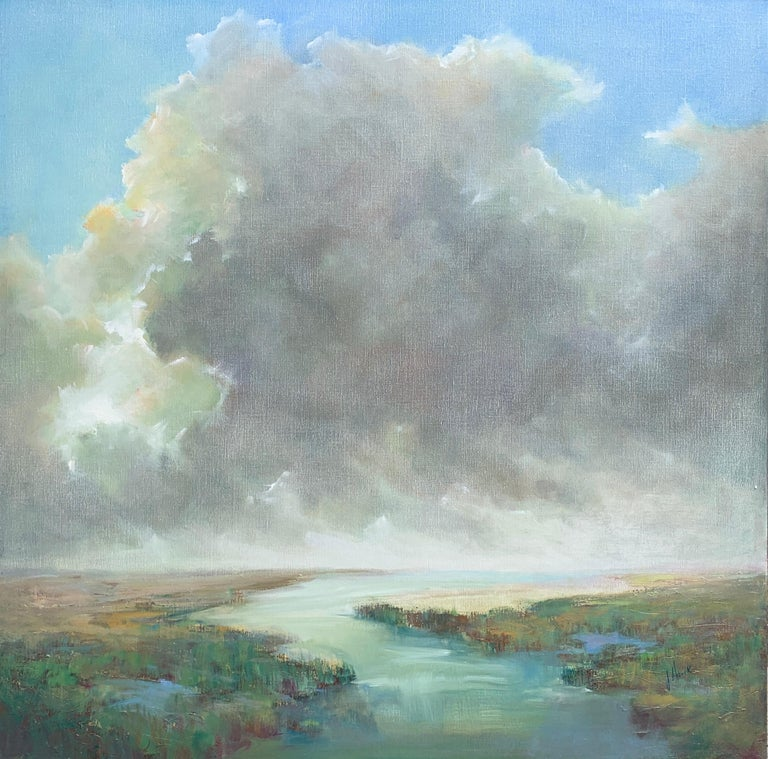 'The Clearing Clouds' is a large Post-Impressionist oil on linen landscape painting of square format created by American artist Julie Houck in 2019. Featuring a luminous palette mostly made of blue, green, grey, soft yellow and white tones, the