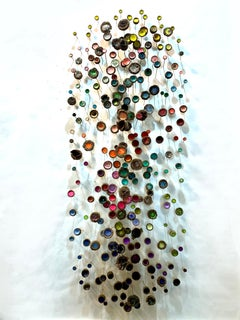 Tea Garden, Multicored Mixed Media Wall Mounted Sculpture with Crystals, Acorns