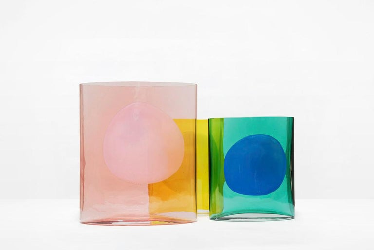 Contemporary Transparent and White Glass Vase Model