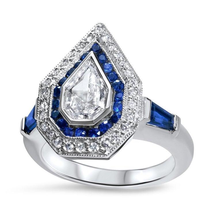 Julie Romanenko Art Deco Inspired Fancy Kite Diamond Blue Sapphire Gold Ring For Sale 1