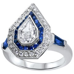 Julie Romanenko Art Deco Inspired Fancy Kite Diamond Blue Sapphire Gold Ring
