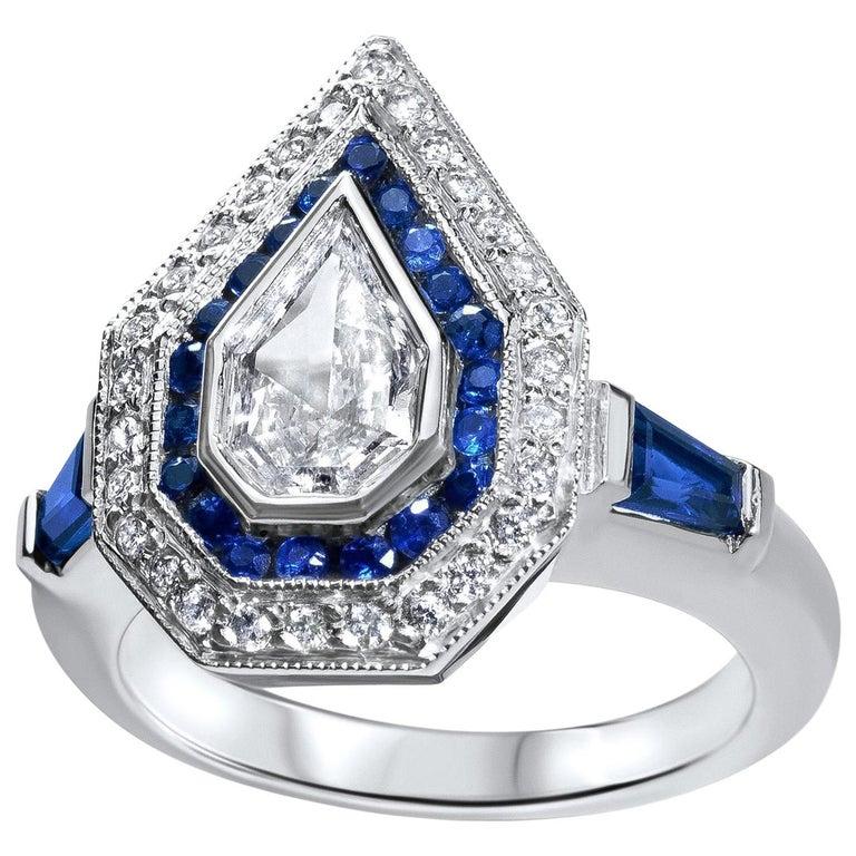 Julie Romanenko Art Deco Inspired Fancy Kite Diamond Blue Sapphire Gold Ring For Sale